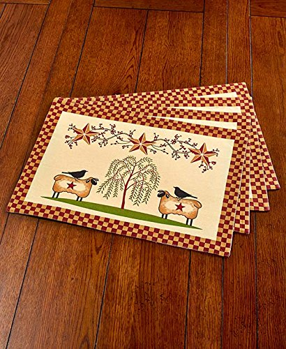 Set of 4 Primitive Americana-inspired Willow (Inspired Placemat)