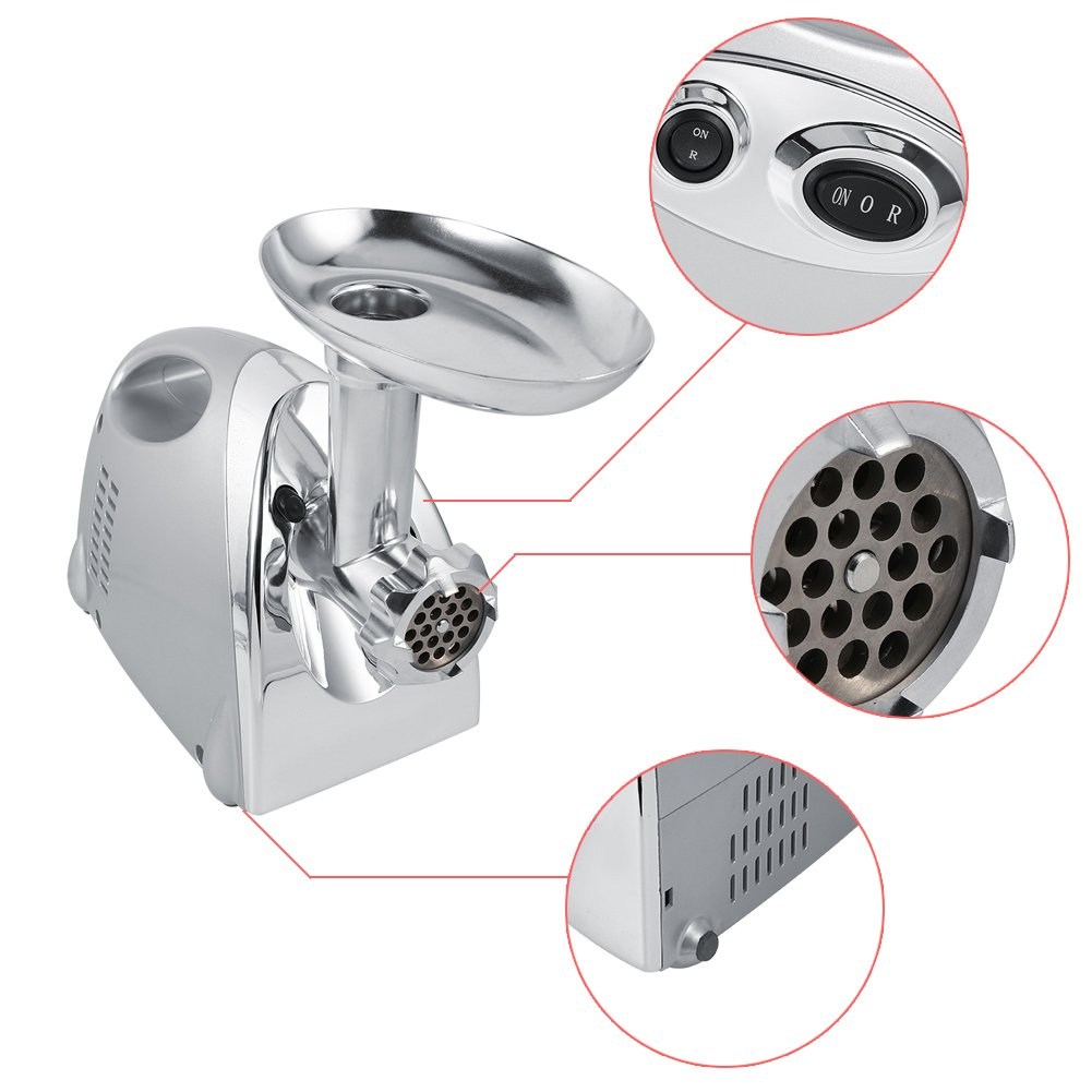 in Acciaio Inox 800W Macchina per Salsicce Professionale Tritacarne Elettrico professionale 3 Diverso accessori per il taglio