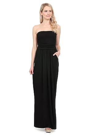 33db11196f Riah Fashion Women s Tube Pocket Maxi Dress (Medium