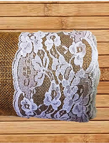 "AAYU Premium burlap aisle Runner with lace - 50 ft x 40 inches ,5"" Ivory-white Lace ribbon attached wedding Burlap Roll 