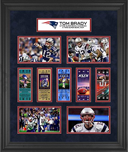"Tom Brady New England Patriots Framed 23"" x 27"" 5-Time Super Bowl Champion Ticket Collage - Fanatics Authentic Certified from Sports Memorabilia"