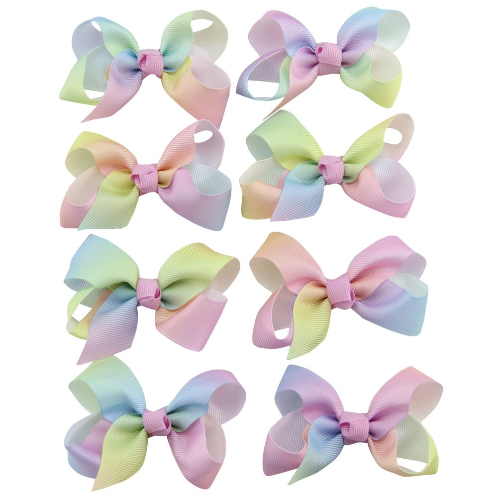 QtGirl 8pcs 3 Boutique Grosgrain Ribbon Hair Bows Clips for Baby Girls MIX179C-AMZ@#SD