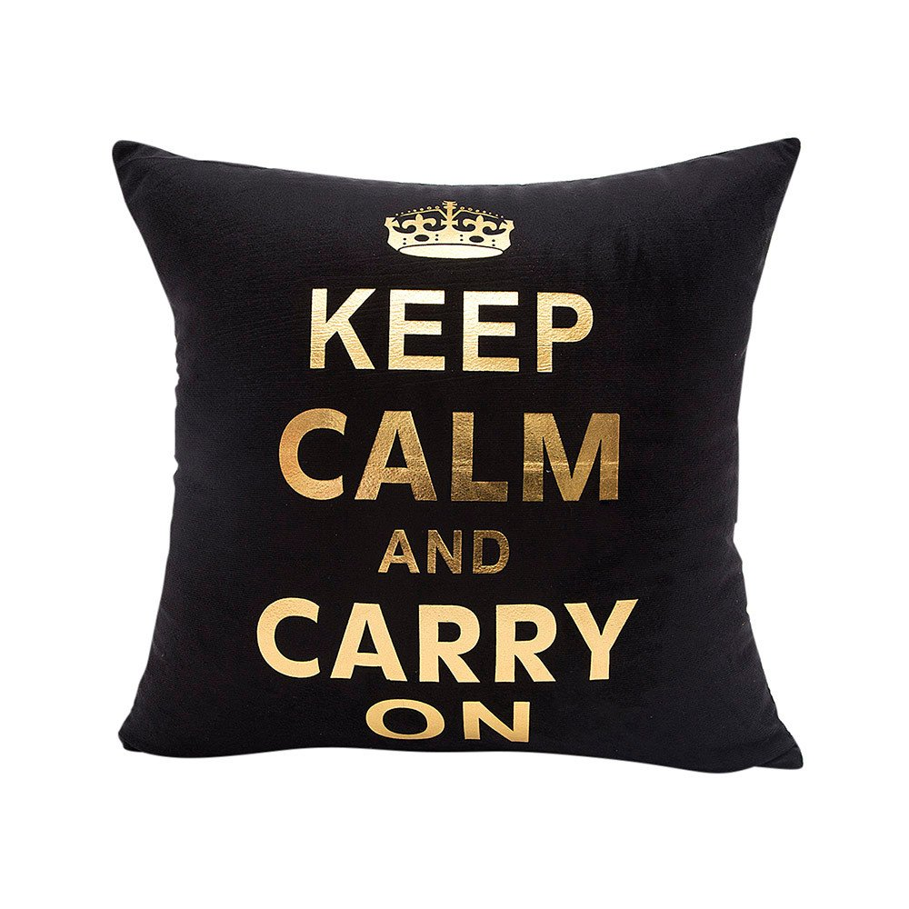 Chenway Gold Foil Printing Throw Pillow Case, Pillowslip Zipper Cushion Festive Decoration CaseCover for Sofa Living Room Home Decor (D)