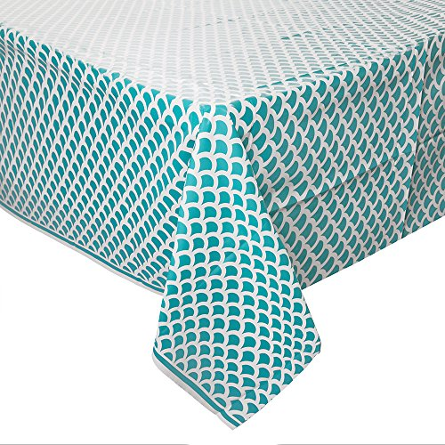 Teal & White Scallop Print Plastic Tablecloth, 108