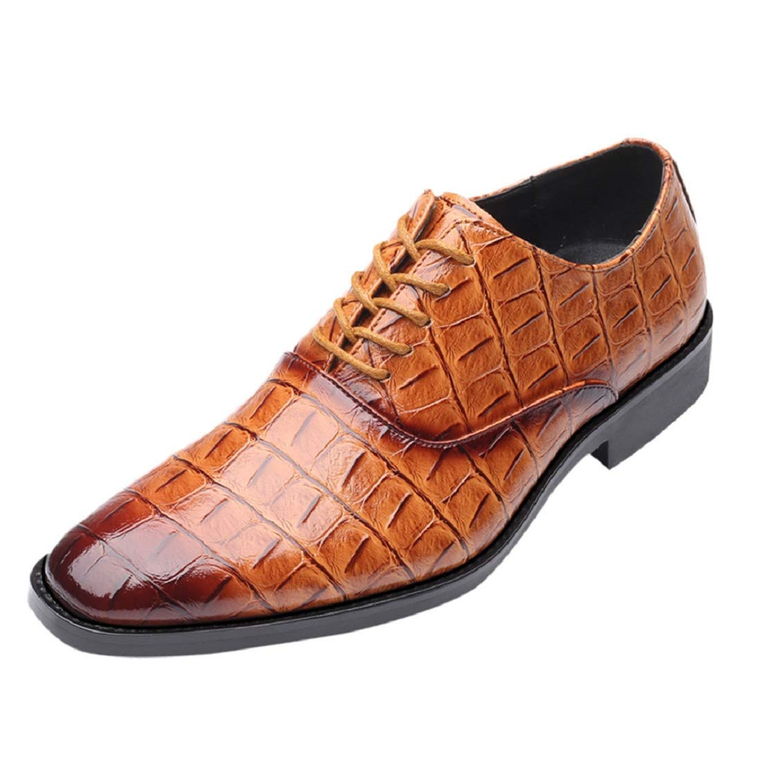 Men's Crocodile Print Loafers Lace up Wingtip Dress Shoes Casual Oxford Shoes Wedding Business Formal Shoes by Lowprofile Yellow