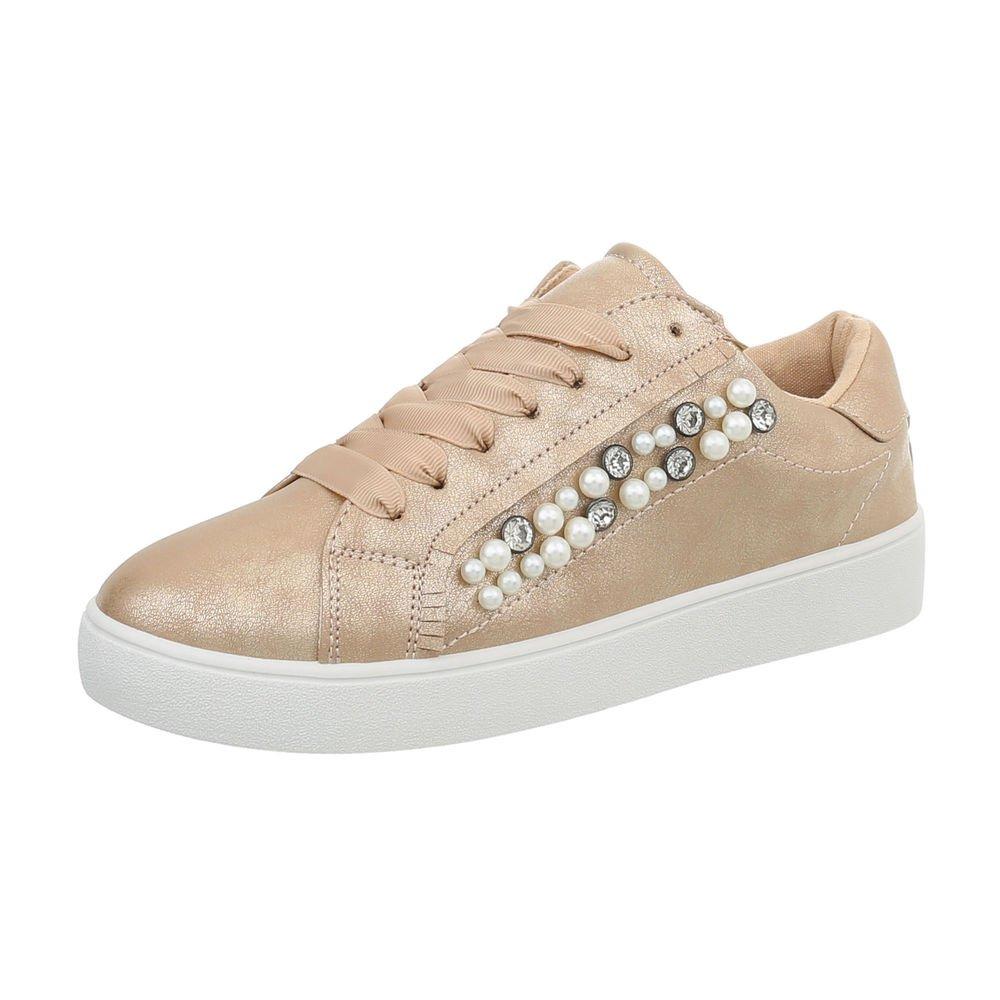 Ital-Design Damenschuhe Freizeitschuhe Sneakers Niedrig 88012- Beige Gold 88012- Niedrig e6bb85