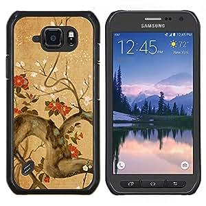 Caucho caso de Shell duro de la cubierta de accesorios de protección BY RAYDREAMMM - Samsung Galaxy S6Active Active G890A - Rama de árbol Flores Florecimiento rojo marrón