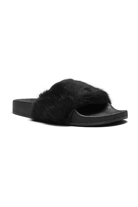 dd0ad8e46 Amazon.com | Herstyle Women's SL-160801 Faux Fur Slide Sandal | Slides