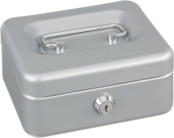 Alco 840-36 - Caja fuerte metálica de caudales, 11 x 15 cm, color plata: Amazon.es: Oficina y papelería