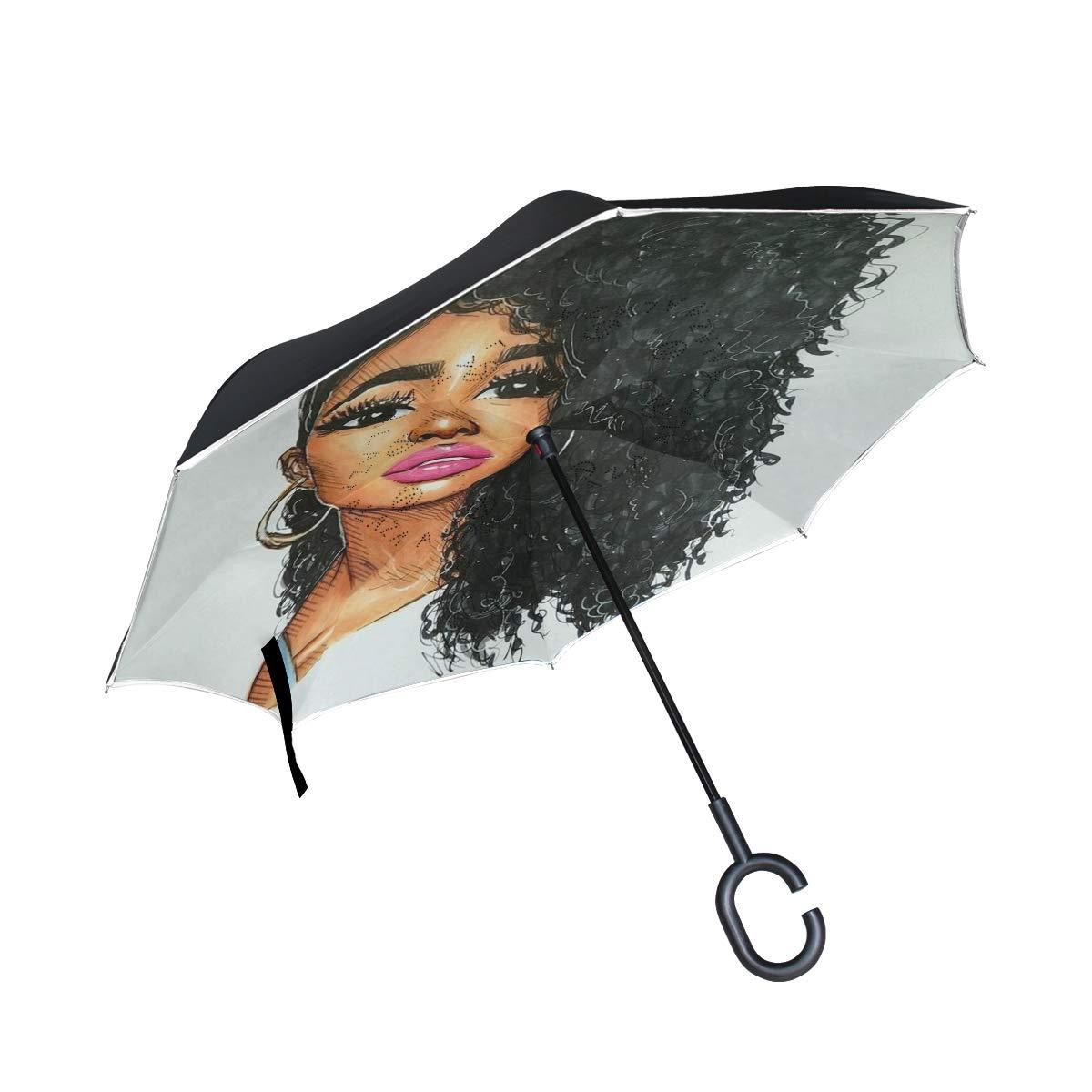 反転傘 ナチュラルアフロ ブラックヘアアート アーティスティックな限定版デザイン 2層 カラフルな雨傘 耐久性 裏返し 防水 防風 防滴   B07GDHKC36