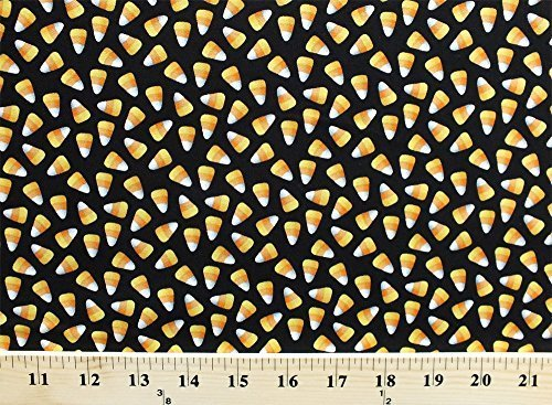 Cotton Candy Corn Candies Confections Confectionery Fall Festival Autumn Halloween Sweets on Black Trick or Treat Diane Arthurs Cotton Fabric Print by the Yard -