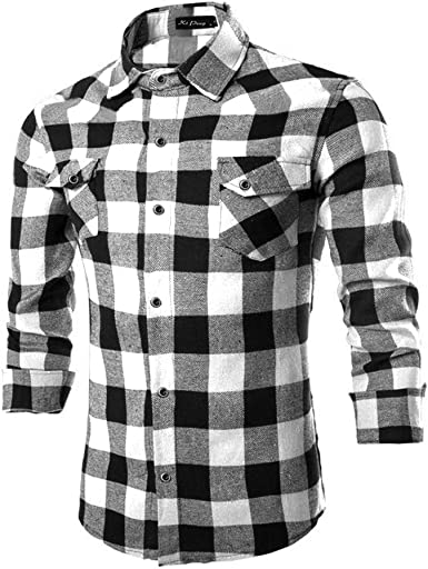 BeIM Camisa de franela para hombre, a cuadros, con bolsillos en el pecho, 100 % algodón, para Oktoberfest