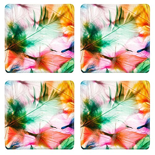 Liili Natural Rubber Square Coasters IMAGE ID 32691390 Colorful feathers
