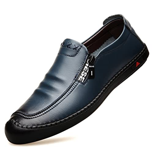 Auto Costura Mens Zapatillas conexión Plana cómodo Dedo del pie Redondo Cremallera Retro Sandalias Zapatos: Amazon.es: Zapatos y complementos