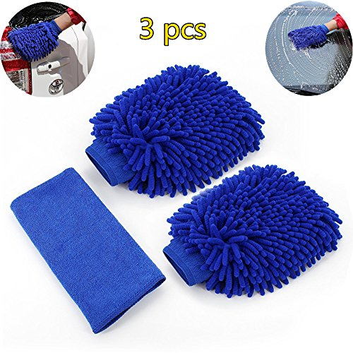 Microfiber Car wash Mitt - Microfiber gloves Chenille Cleaning Cloth Care Cleaning Wash mitt(2 Pack)Free gift a polishing cloth