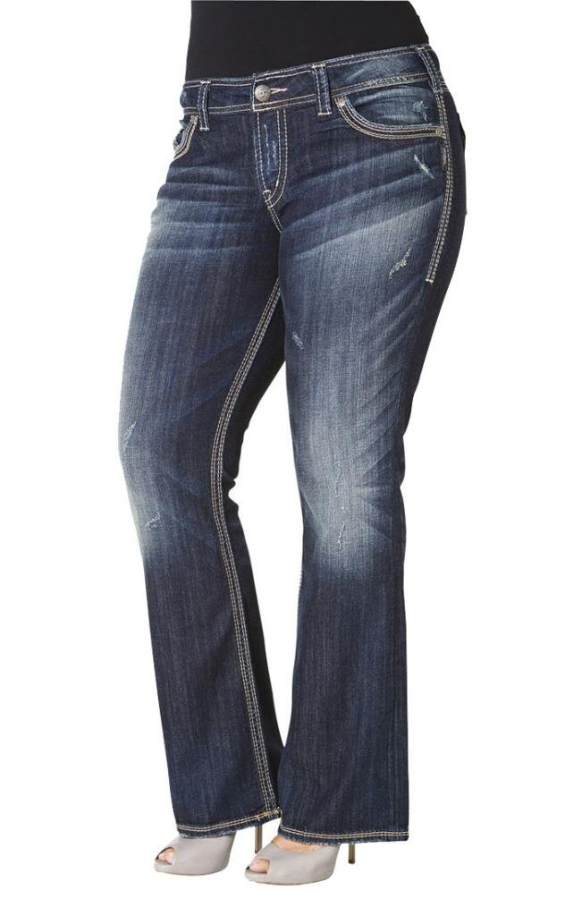 Silver Jeans Women Plus Bootcut Jeans Suki Surplus Flap Pockets in Dark Blue