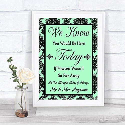 Mint Green Black Damask in Loving Memory Absence Personalized Wedding (Mounted Memories Green)