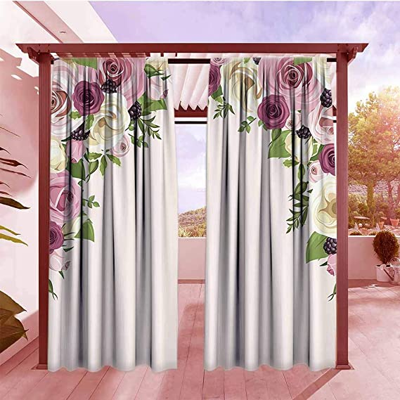 Amazon.com: Indoor/Outdoor Print Window Curtain Roses ...