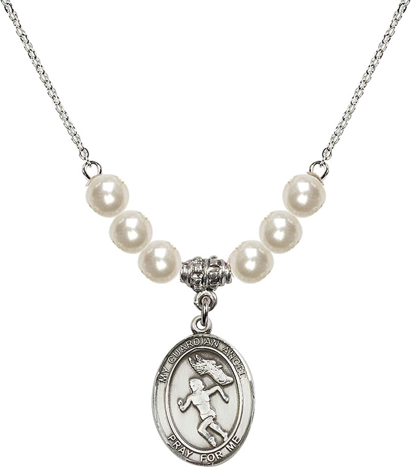 Bonyak Jewelry 18 Inch Rhodium Plated Necklace w// 6mm Faux-Pearl Beads and Guardian Angel//Track/&Field-Women Charm