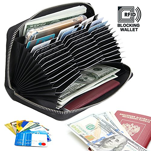 RFID Blocking Credit Card Wallet Case Leather Large Capacity Zipper Purse for Women/Men by Beststart