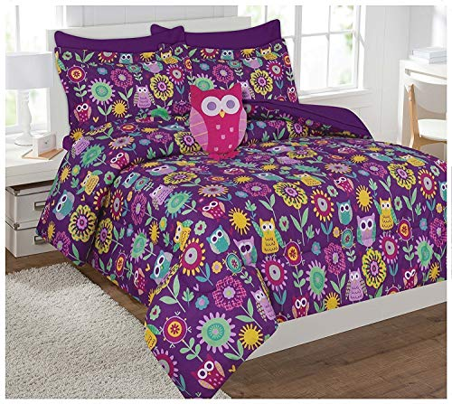 Mk Collection 8pc Full Comforter Set with Owl Pillow Owls Flowers Purple Pink Teal Yellow White Turquoise Orange New