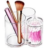 ISWEES Brush Holder, 3 Sections Acrylic Makeup Organiser Cosmetics Storage Case Stand for Make Up Brushes,Cotton Ball,Pads,Buds,Swab,ect (Round-Shape with Covers)