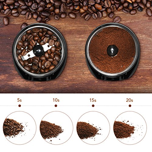Electric Coffee Grinder, Atmoko Conical Burr Grinder and Spice Grinder with Multi-functional Stainless-Steel Blades, Removable Transparent Cover, Cord Storage, Brush, Portable Coffee Mill, Black by Atmoko (Image #3)