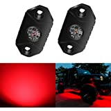 4WDKING Red LED Rock Lights, 2 Pods IP68 Waterproof Underbody Glow Trail Rig Lamp LED Neon Lights for Truck Jeep Off…