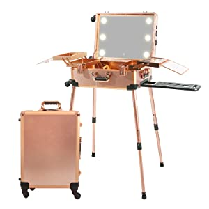 Jula Vance Large Makeup Train Case with 3-Code Password Lock & Full Screen Lighted Mirror & 3 Light Colors Lighted Rolling Travel Cosmetic Organizer, Professional Artist Trolley Studio Free Standing