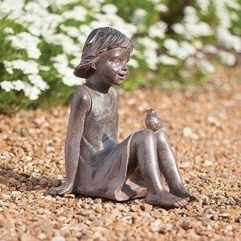"""Roman Bronze Look Girl Sitting with Bird Outdoor Resin Garden Statue or Figurine 10.75"""""""