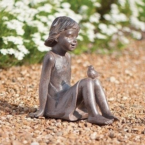 - Roman Bronze Look Girl Sitting with Bird Outdoor Resin Garden Statue or Figurine 10.75