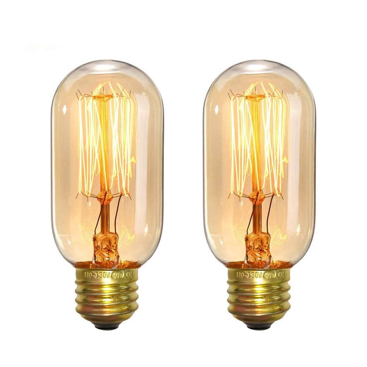 Edison Light Bulbs, Elfeland 40W Vintage Antique Light Bulbs Dimmable T45 E26/E27 Tubular Style Bulb for Home Light Fixtures Decorative(2 Pack)