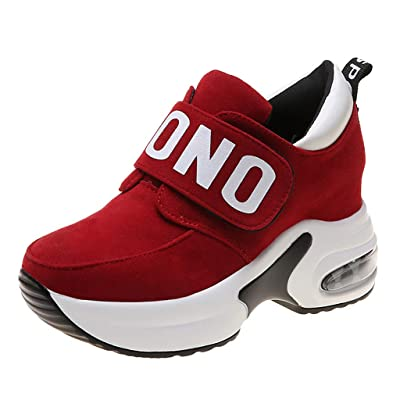 Womens Girls Wedges Shoes,Suede NOT Lace Up Thick-Soled Increase Platform Sneaker 5.5-8: Clothing