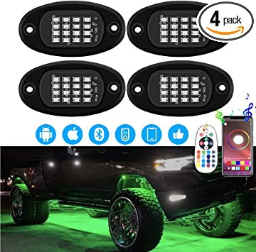 LBRST Multicolor RGB LED Rock Lights 4 Pods Led Rock Lights with Bluetooth Controller Timing Lights Waterproof Led Interior Neon Wheel Lights for Underglow Trucks Offroad SUV ATV