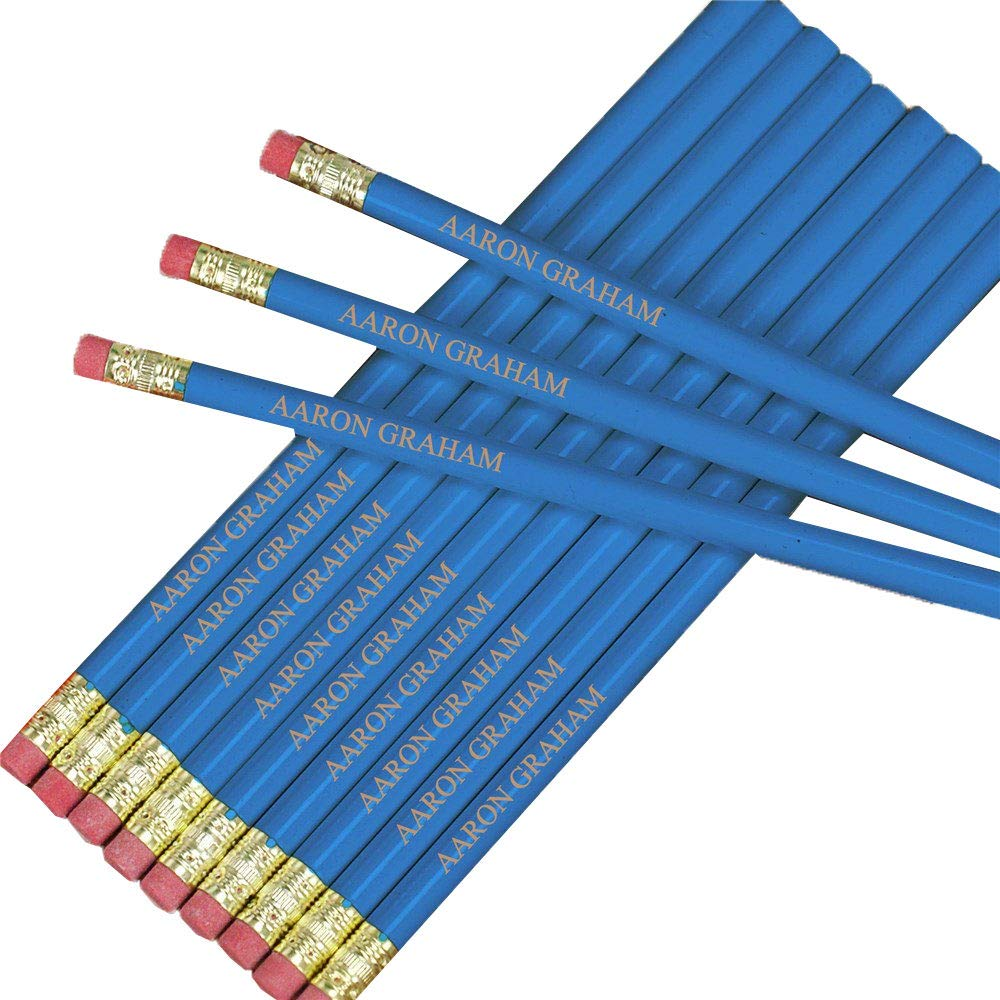 "12 Hexagon /""Dark Blue/"" Personalized Pencils"