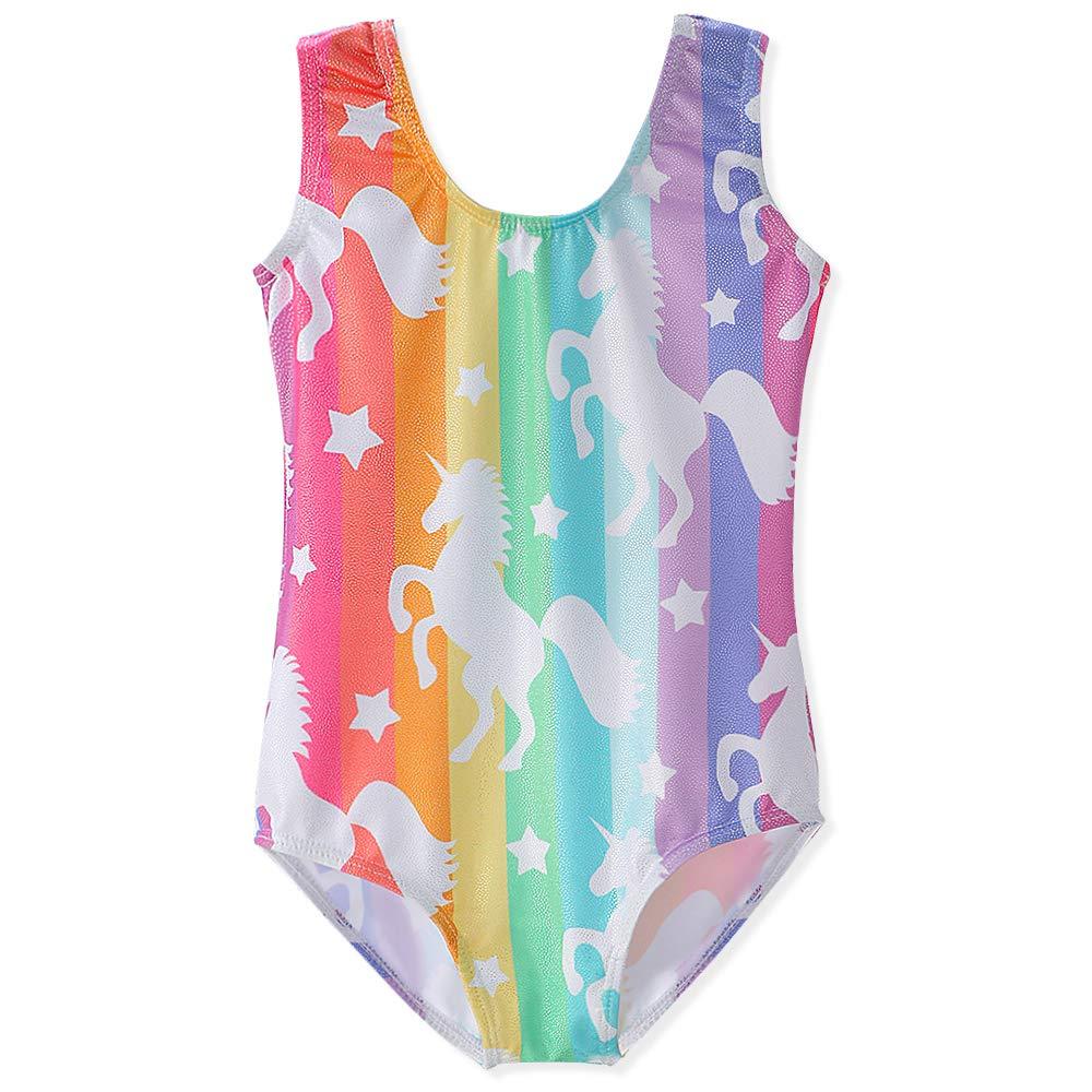 Gymnastics Leotards for Girls Unicorn Pink Purple Sparkly Swimwear Activewear