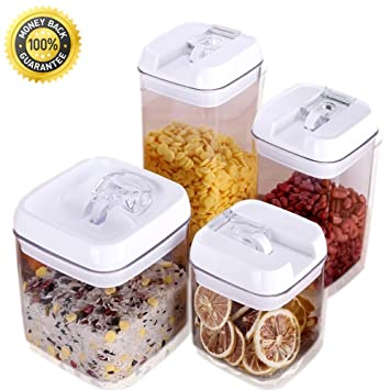 Amazoncom Easy Lock Airtight Kitchen Storage Containers Piece - Kitchen storage boxes