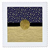 3dRose Anne Marie Baugh - Glitter and Chic - Contemporary Blue and Gold Confetti Dots, Gold Metal, Gold Circle - 22x22 inch quilt square (qs_267787_9)