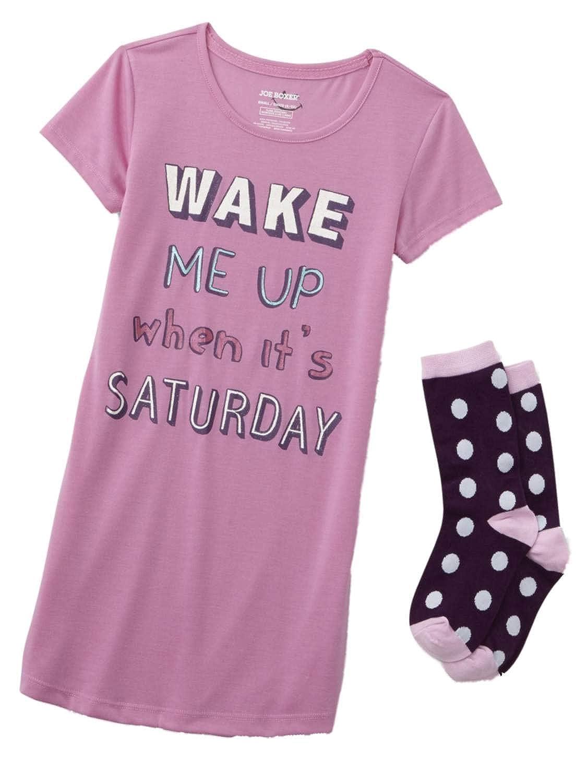 Girls Pink Wake Me Up Sleep Pajamas Lightweight Sleep Set Dress Shirt