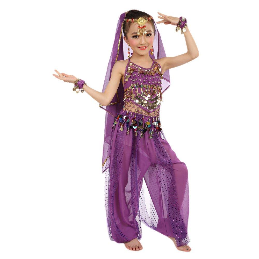 feiXIANG Trajes para ni/ñas Beb/é Ni/ños Baile Indio Danza del Vientre Juego de Disfraces Elegante Danza del Vientre Profesional o como un Disfraz