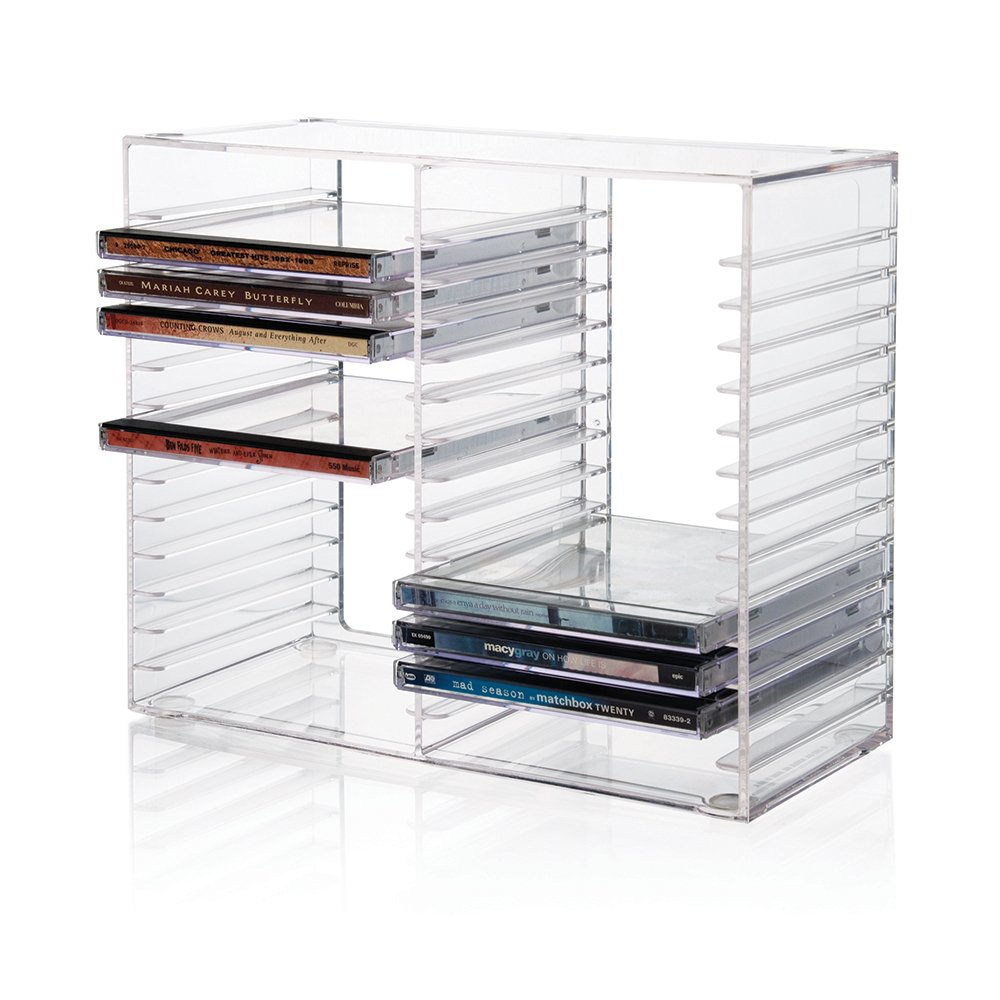 Stackable Clear Plastic CD Holder - holds 30 standard CD jewel cases