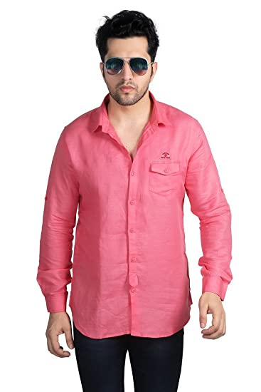 0268168743 Nostrum Jeans Men s Peach Solid Casual Shirt  Amazon.in  Clothing ...