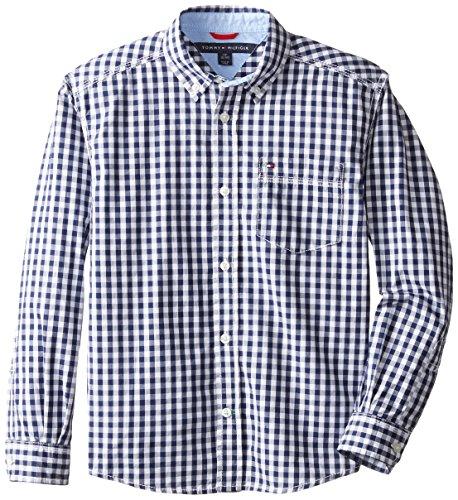 Tommy hilfiger little boys baxter gingham shirt flag blue for Tommy hilfiger gingham dress shirt
