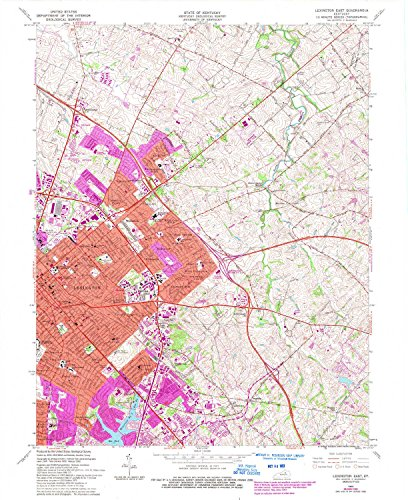 Lexington East KY topo map, 1:24000 scale, 7.5 X 7.5 Minute, Historical, 1965, updated 1993, 27.3 x 22.4 IN - Tyvek