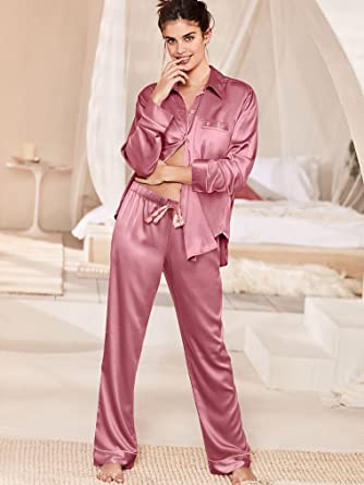 3d0997520e Victoria s Secret The Afterhours Satin Pajama Rosy Mauve (Small (Short))