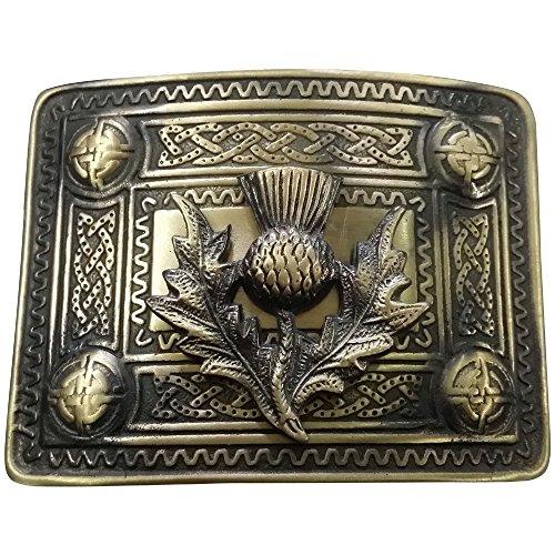 AAR Men's Celtic Kilt Belt Buckle Antique Finish with Thistle Badge Kilt Belt - Buckle Antique Belt Finish