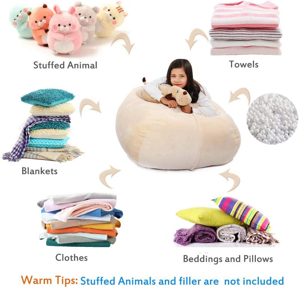 37Inch Large Size Organization Velvet Extra Soft Stuffie Seat with 31Inch Double Head Zipper for Kids Toys Blankets Pink Towels /& Clothes Household Supplies Stuffed Animal Storage Bean Bag Cover