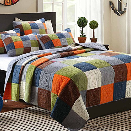 ON SALE Cotton Patchwork Quilt Bedspread Set Queen Plaid Print Quilt Coverlet Set Luxury Reversible Quilt Set for Kids Adults Super Soft Queen Quilt Set for Boys Girls with 2 Pillow Shams, Style4 (Boys Queen Quilt Bedding)