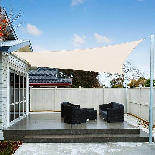 AXT SHADE Toldo Vela de Sombra Rectangular 2 x 3 m, protección Rayos UV Impermeable para Patio, Exteriores, Jardín, Color Crema: Amazon.es: Jardín