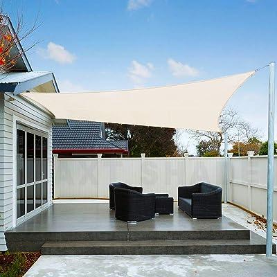 AXT SHADE Toldo Vela de Sombra Cuadrado 2 x 2 m, protección Rayos UV Impermeable para Patio, Exteriores, Jardín, Color Crema